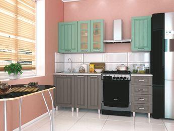 Модульная кухня Луксор серый-бирюза