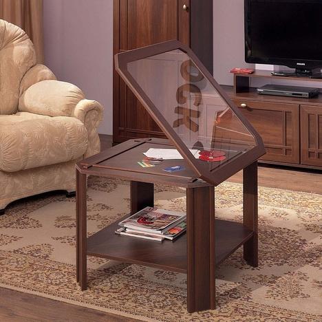 Стол со стеклом журнальный Шерлок орех